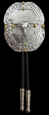 Silver Strike Adult Antique Silver Steer Head Bolo