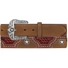Justin Men's Texas All Star Aged Bark Leather Belt
