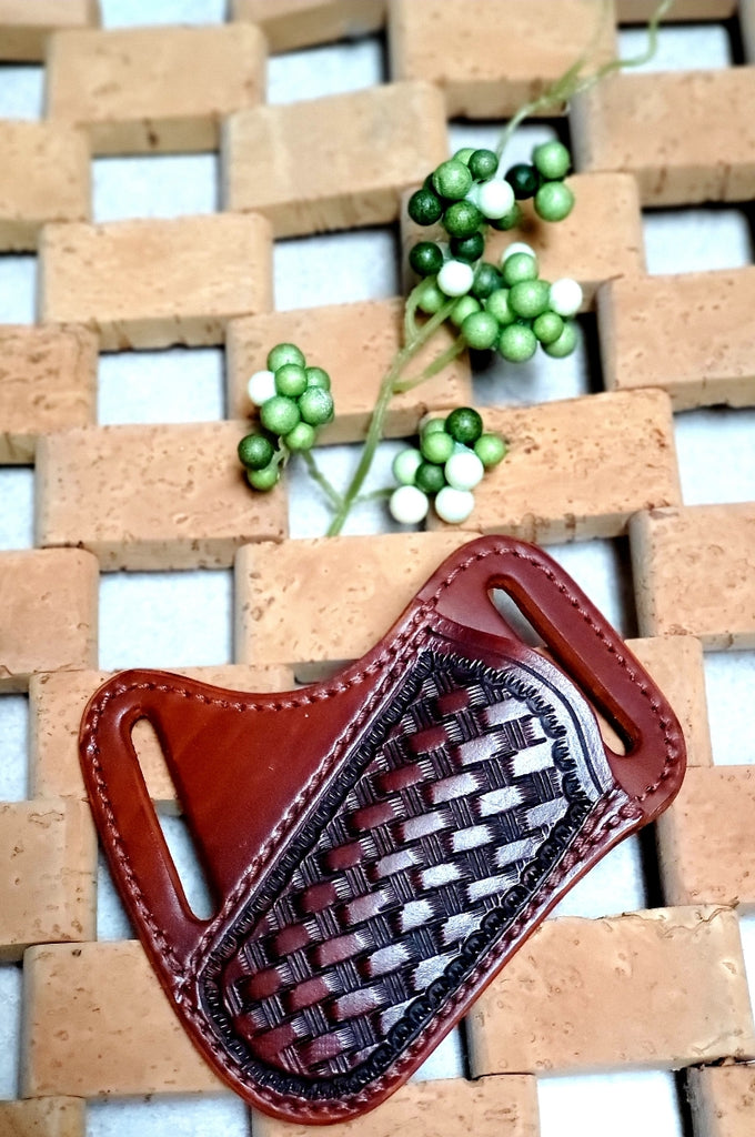 DARK BASKETWEAVE SIDEWAYS BELT LEATHER KNIFE SHEATH