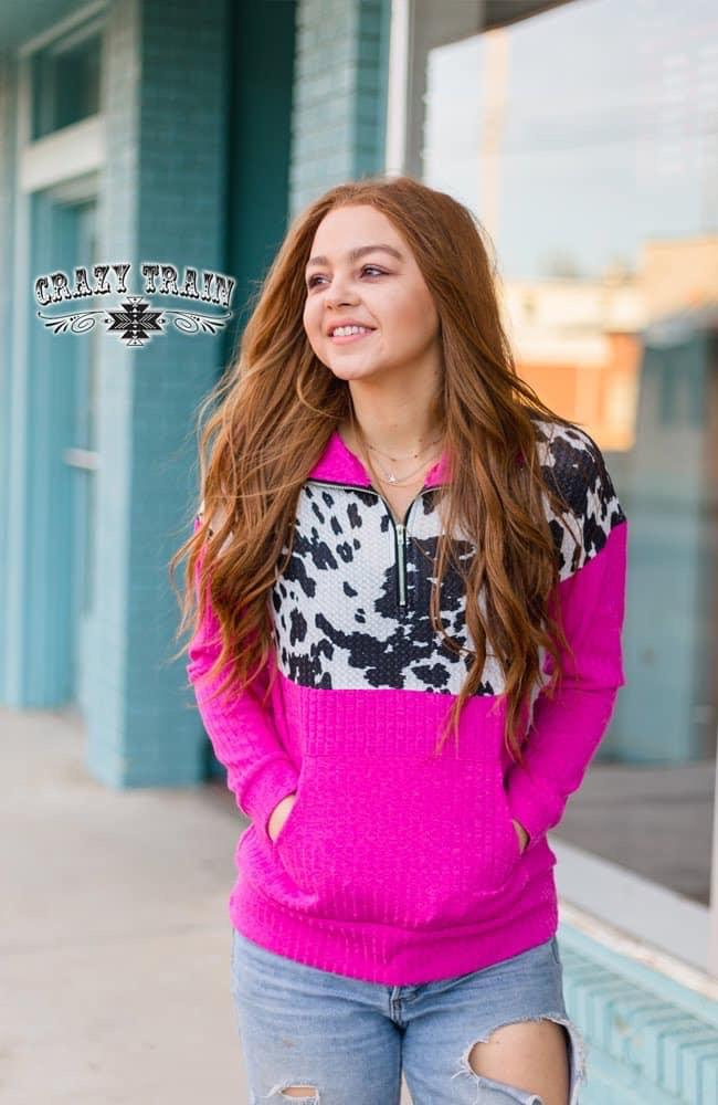 PUNCHY PINK COWHIDE PULLOVER
