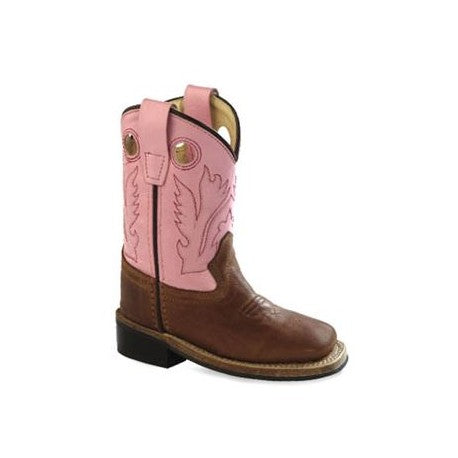 OLD WEST TODDLER TAN/PINK BOOT