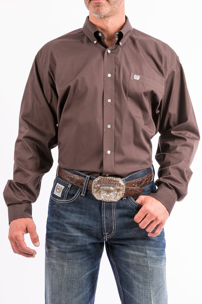 CINCH MEN'S SOLID BROWN BUTTON DOWN WESTERN SHIRT