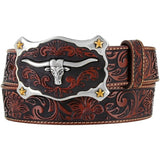 JUSTIN MEN'S TAN CLASSIC LONGHORN BELT
