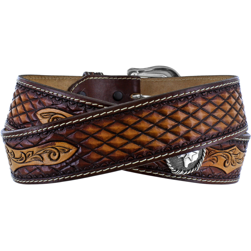 JUSTIN MEN'S TAN TOOLED DIAMOND BELT