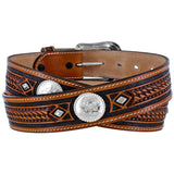 Tony Lama Men's Dark Brown Embossed Leather Belt