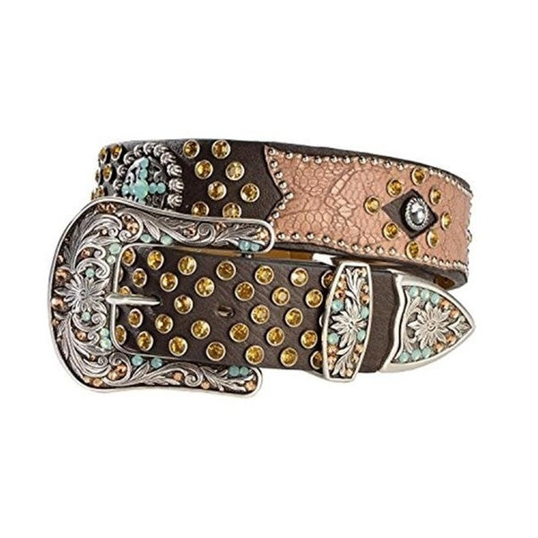 Ariat Ladies Brown Bedecked Crackle Leather Overlay Belt