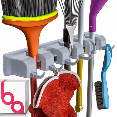 Berry Ave Broom Holder and Garden Tool Organizer, For Rake or Mop Handles Up To 1.25 inches (Grey)