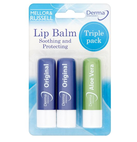 Mellor & Russell Derma Intensive Lip Balms Triple Value Pack  (2 Original Lip Balm + 1 Aloe Vera Lip Balm)