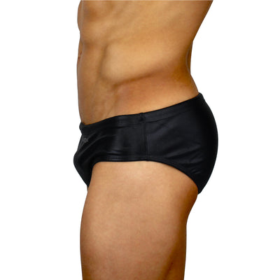 Black Leather - Lycra Sunga - Men's Designer Swimwear