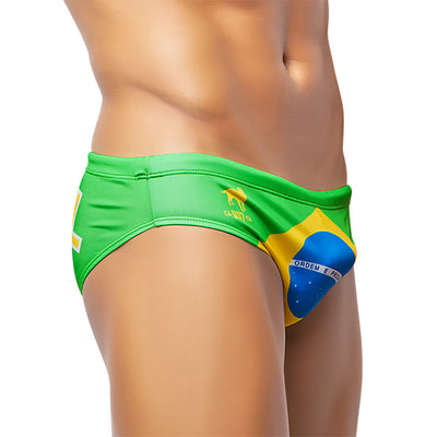 TEAM BRASIL FLAG SUNGA - Men's Designer Swimwear - Men's Brazilian Sunga