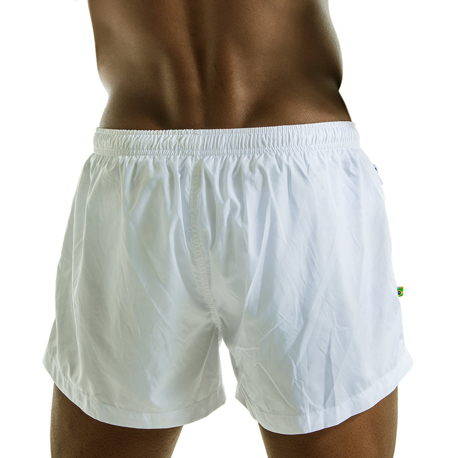 CA-RIO-CA SOLID WHITE FUTEBOL SHORTS  ⚽ - Men's Swim Trunks