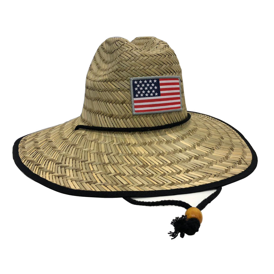 USA Flag Lifeguard Straw Hat