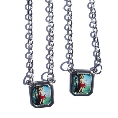 SCAPULAR SAINT SEBASTIAN Men's Silver Stainless Steel Necklace - Men's Designer Jewelry