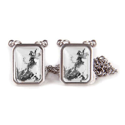 SCAPULAR SÃO JORGE Men's Silver Necklace - Men's Fashion Jewelry