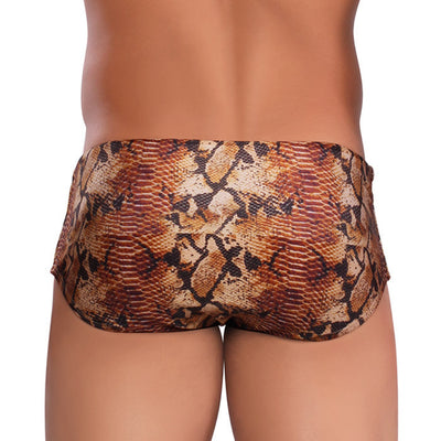 COBRA Brown Snake Print Men's Designer Swimwear - Animal Print Men's Swimming Sunga