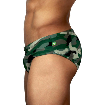 Camo Print - Army Colors - Camouflage Green Men's Designer Swimwear