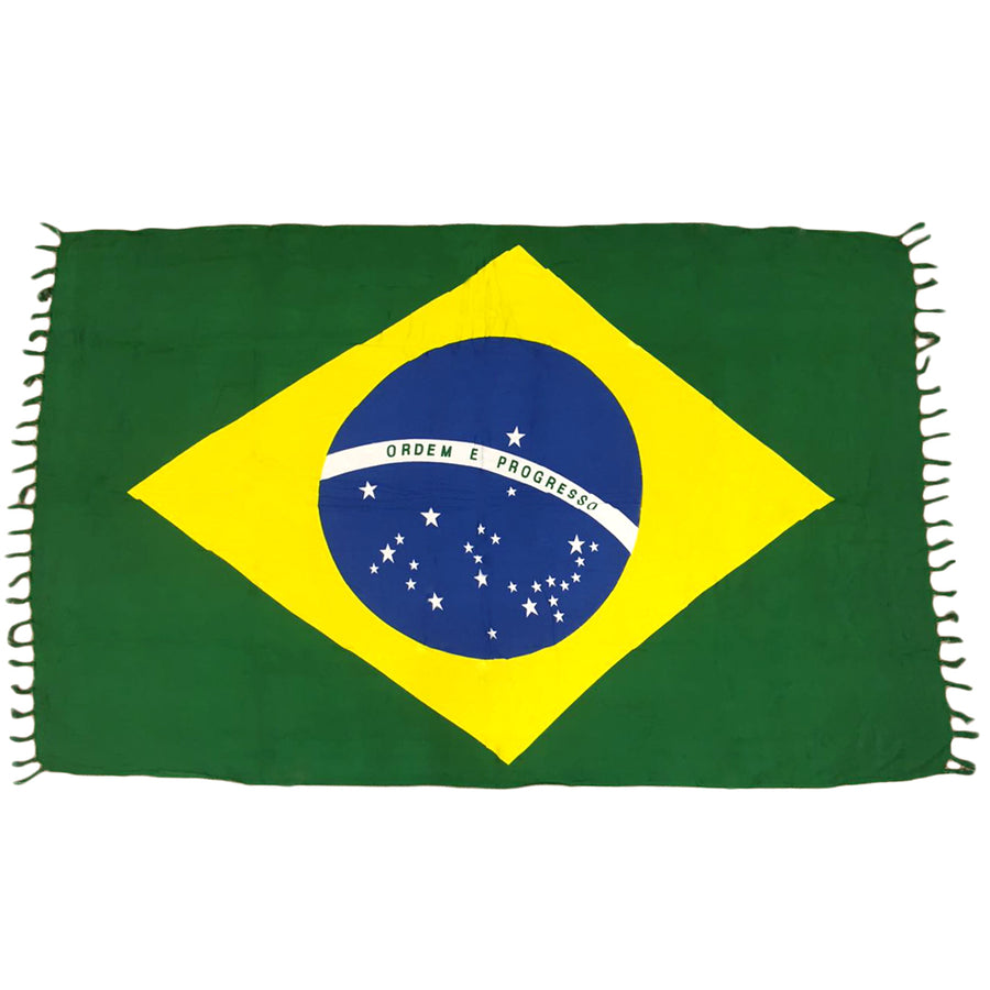 BRAZILIAN FLAG CANGA - Green, Yellow, Blue And White - Brazilian Beach Towel (Sarong/Pareo)