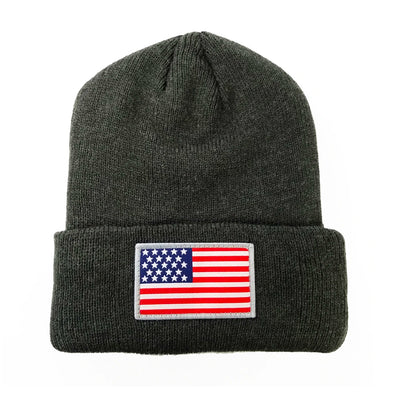 CA-RIO-CA USA Flag Patch 3M Thinsulate Beanie - Black, Zinco Light Gray, Charcoal Dark Gray - Men's Designer Headwear Hat
