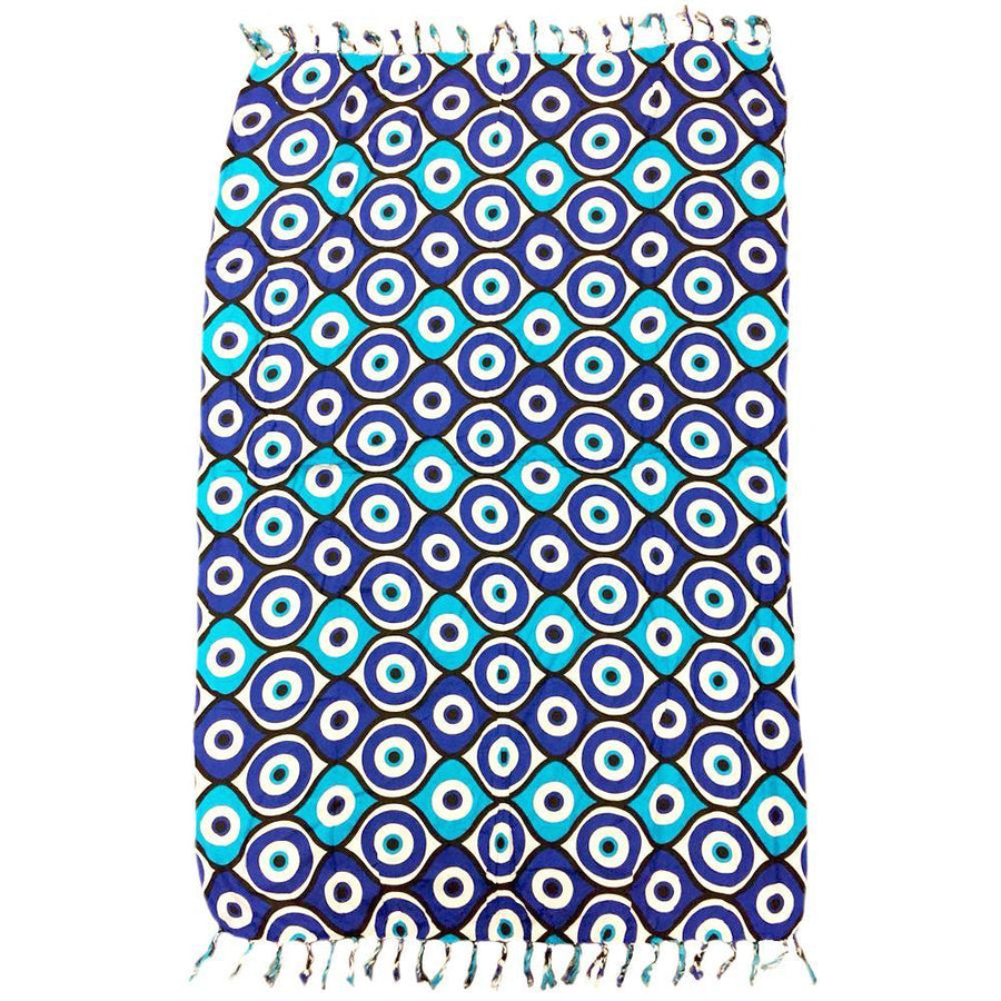 GREEK EYE Blue Canga, Cangas De Praia - Brazilian Beach Towel (Sarong / Pareo)