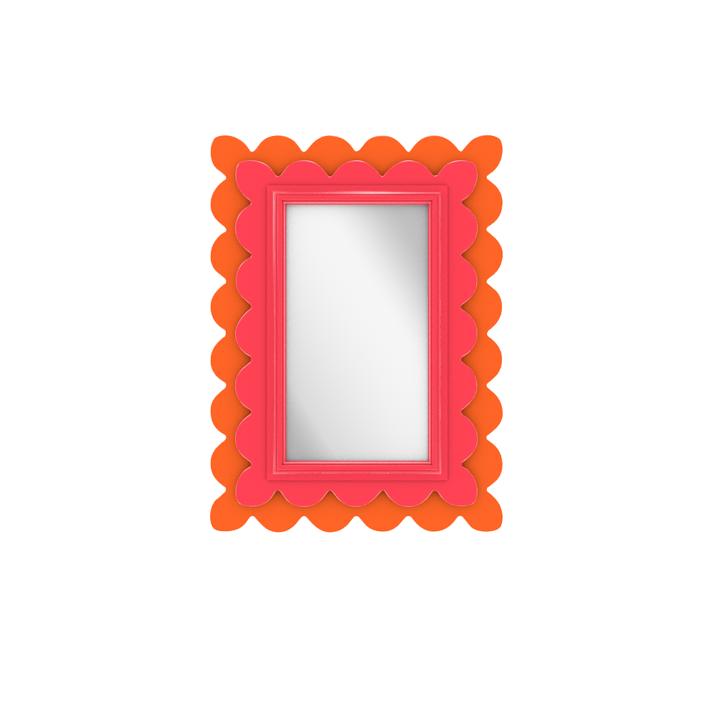 Capri II Mirror- Small- Eros Pink with Knockout Orange accent