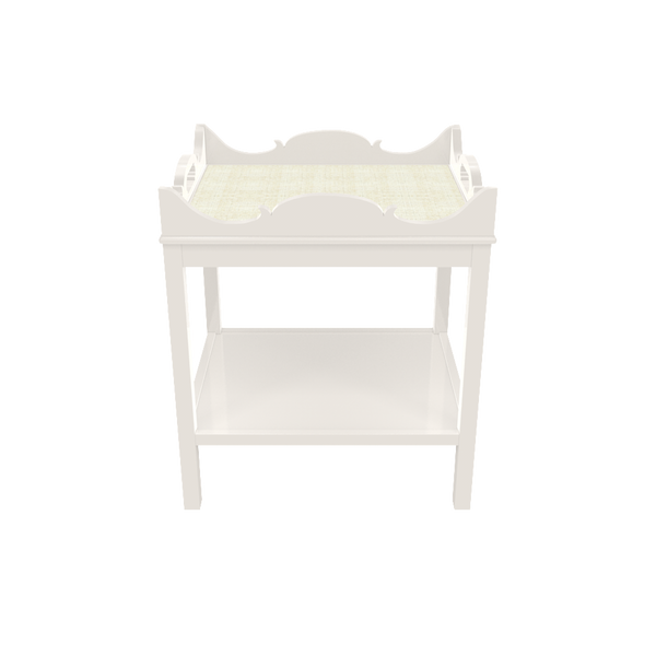 Charleston Side Table - White Dove with White Washed Raffia - Quicker Ship