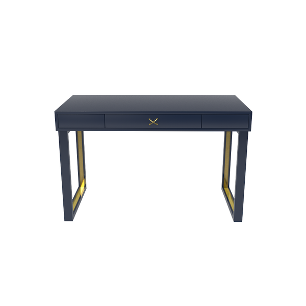 Chelsea Desk - Club Navy with Brass Hardware - Quicker Ship