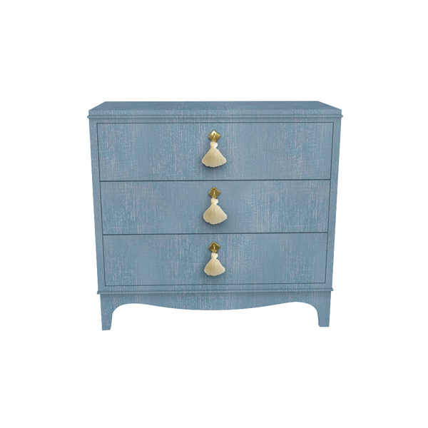 Easton Chest: Denim Blue Finish with Creme Tassels and Brass Hardware - Quick Ship