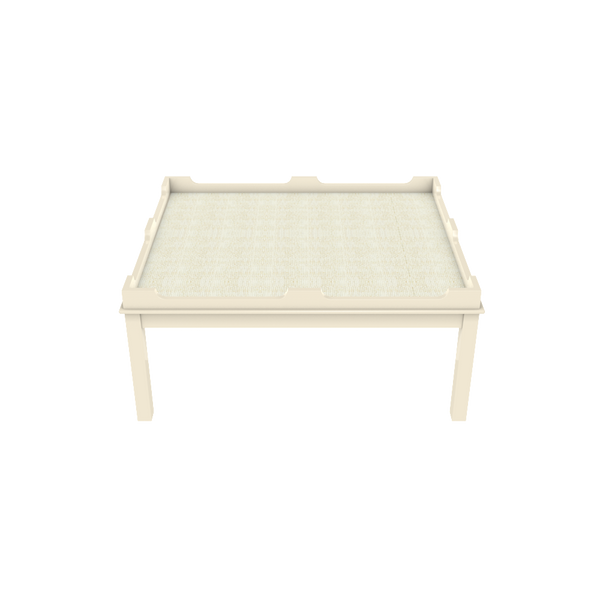 Edgartown Coffee Table - White Dove with White Washed Raffia - Quicker Ship