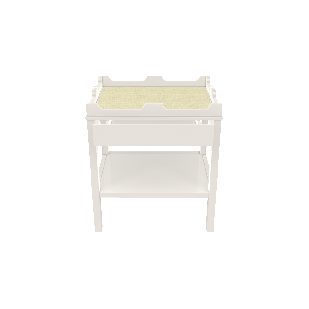 Edgartown Side Table with Drawer- White Dove and Linen