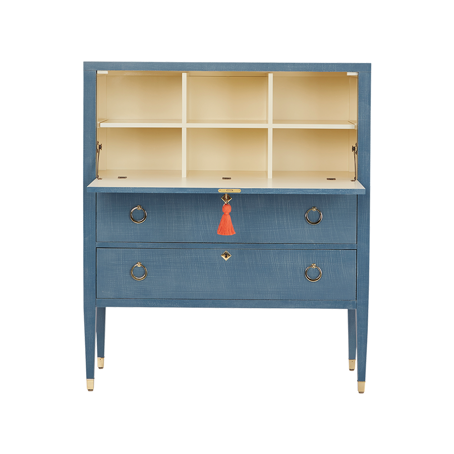Easton Secretary Desk: Denim Blue Finish