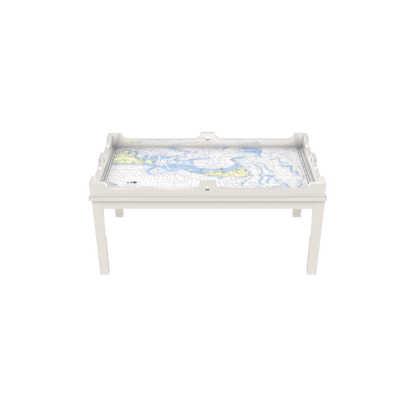 Fenwick Chart Coffee Table in White Dove with Nantucket Chart - Quicker Ship