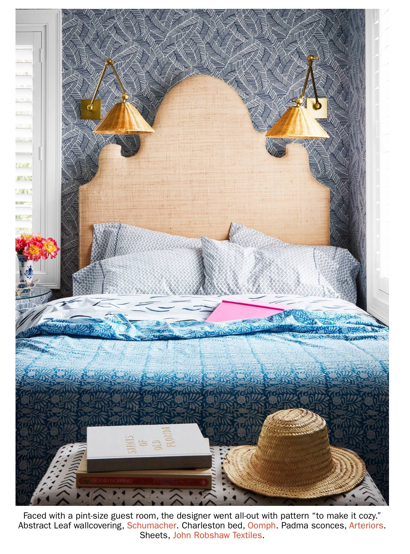 Charleston Headboard in Natural Raffia - Queen