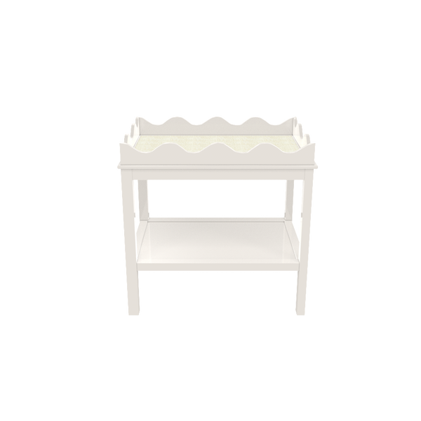 Hobe Sound Side Table - White Dove and White Washed Raffia - Quicker Ship