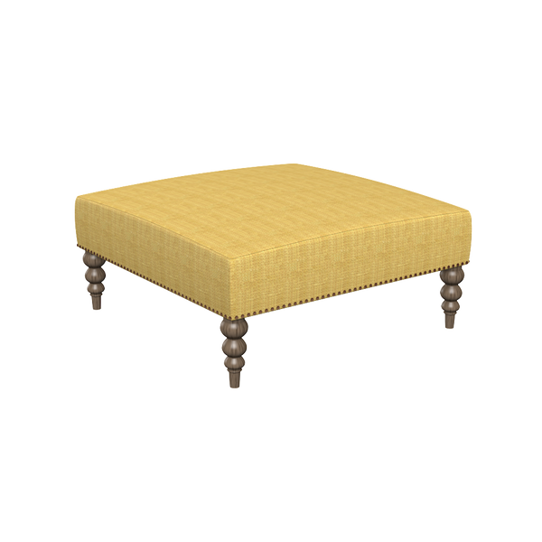Chatham Raffia Ottoman with Star Nailheads and Weathered Wood legs - Quicker Ship