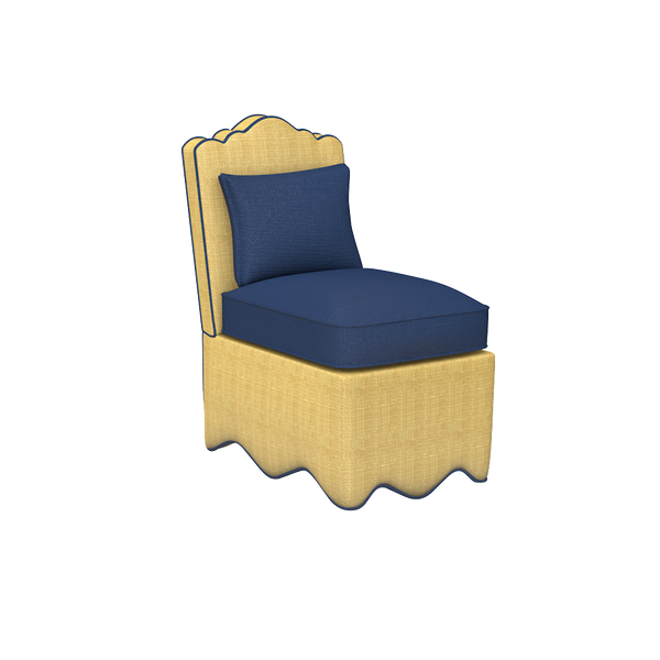 Raffia Scallop Slipper Chair - complete-Manhattan-Chest