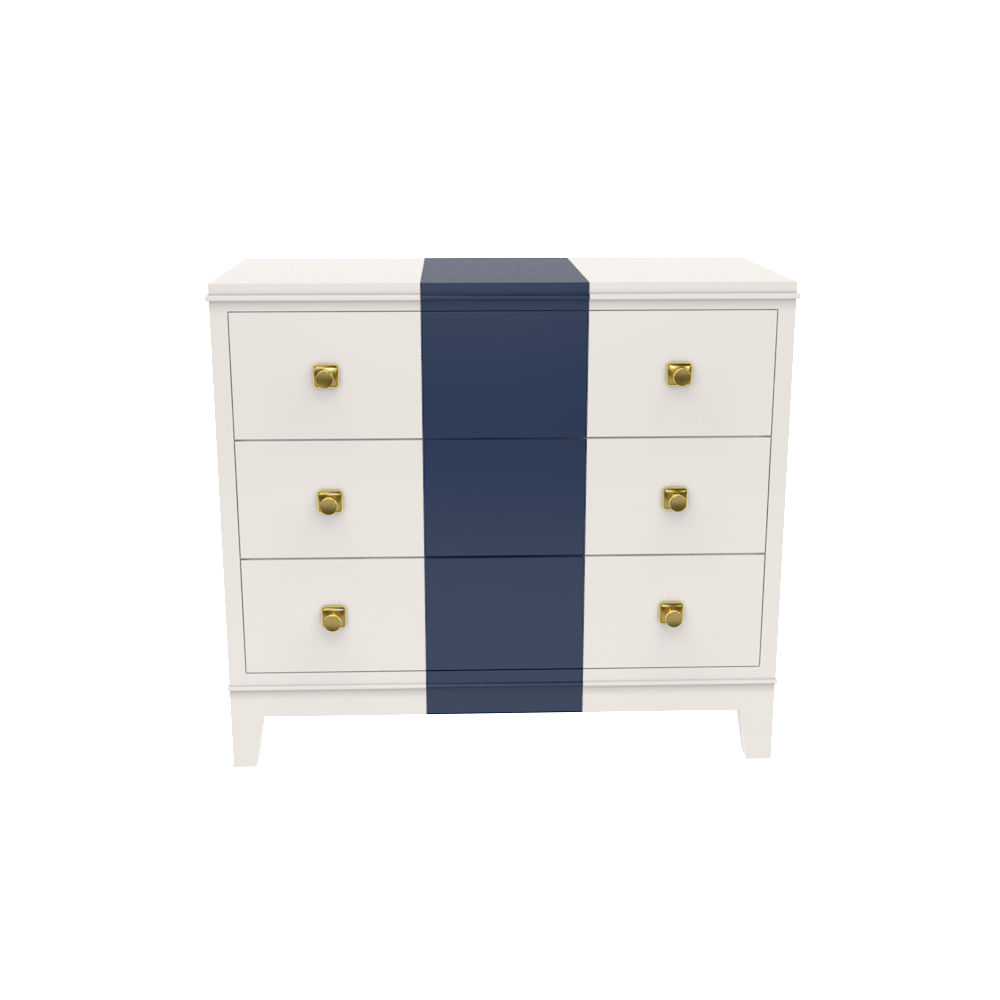 Rugby Chest- White Dove with Club Navy Stripe