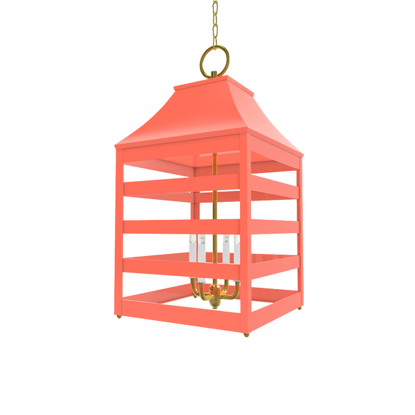 Saybrook XL Lantern with Brass - Ceiling Lighting