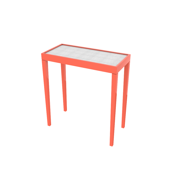 Tini III Tucson Coral and White Painted Raffia - complete-tini-x-bench-with-nailhead-trim