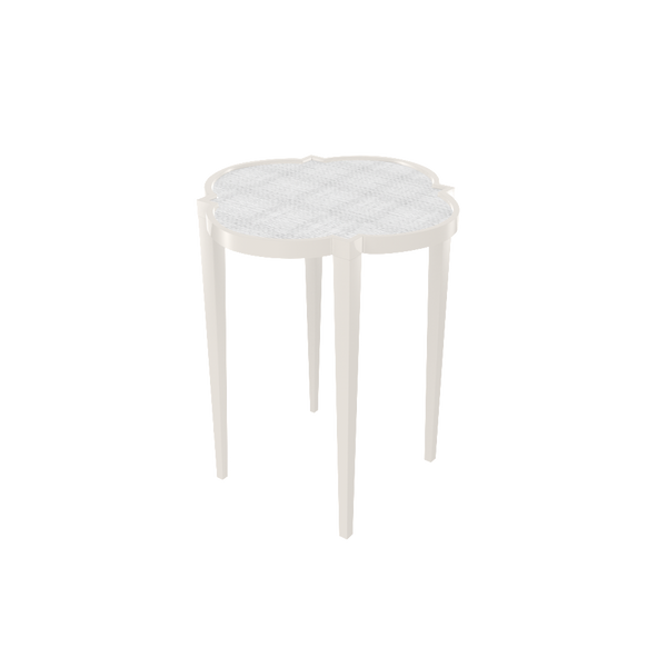 Tini IV Table - White Dove with White Painted Raffia - Greenwich Shop
