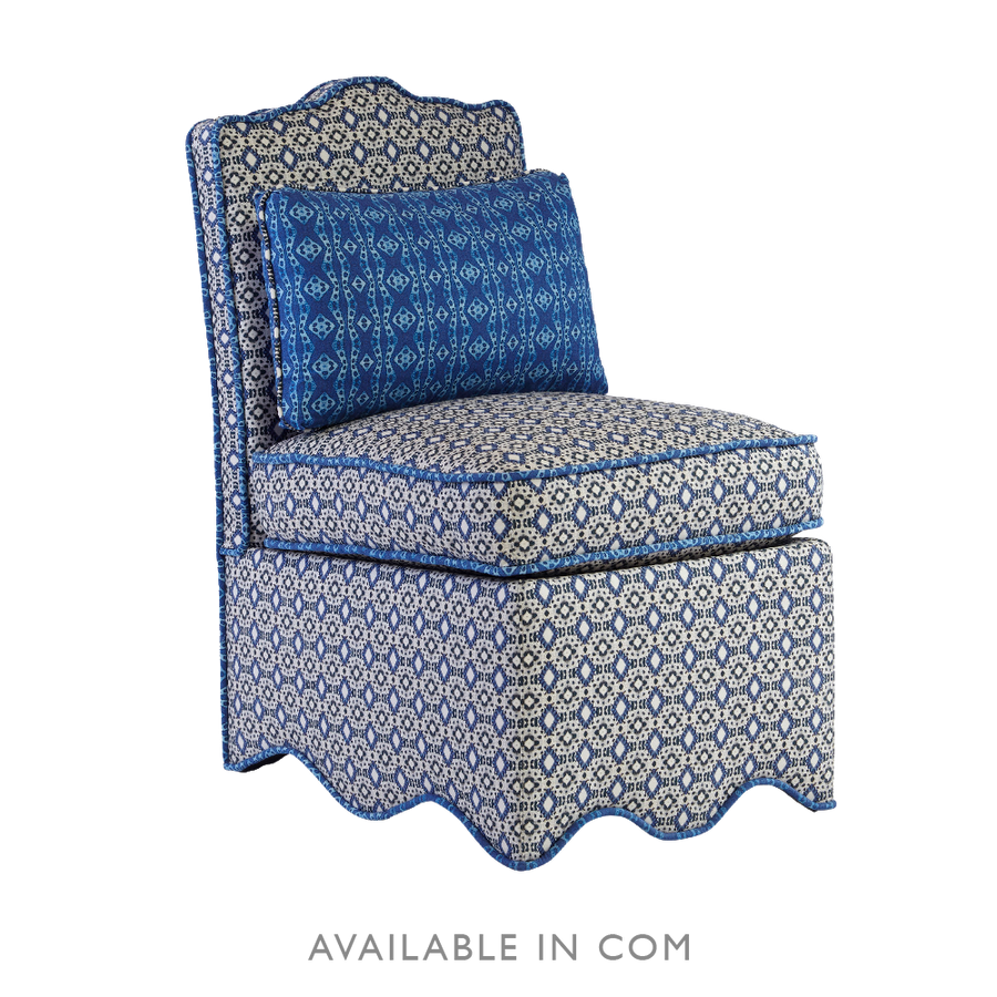 Upholstered Scallop Slipper Chair