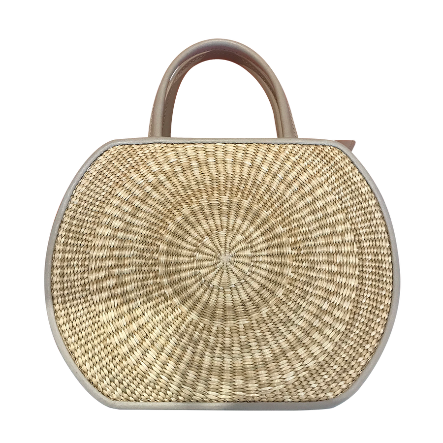 DoKim Rattan and Leather Purse - Black