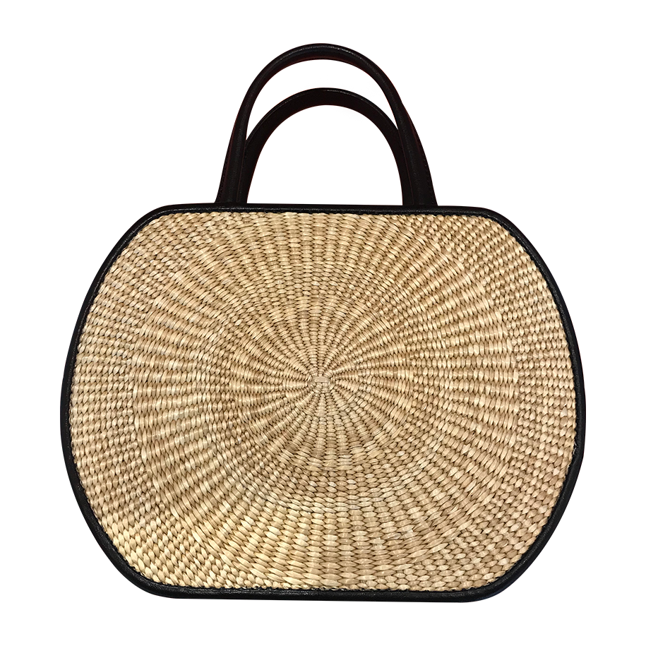 DoKim Rattan and Leather Purse - White