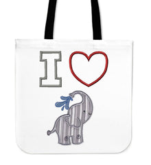 I Heart Elephants Linen Tote Bag