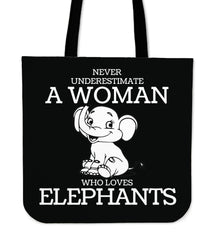 Never Underestimate A Woman Who Loves Elephants Linen Tote Bag