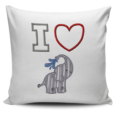 I Heart Elephants Pillow Cover