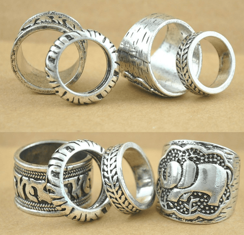 4 Piece Elephant Midi Ring Set