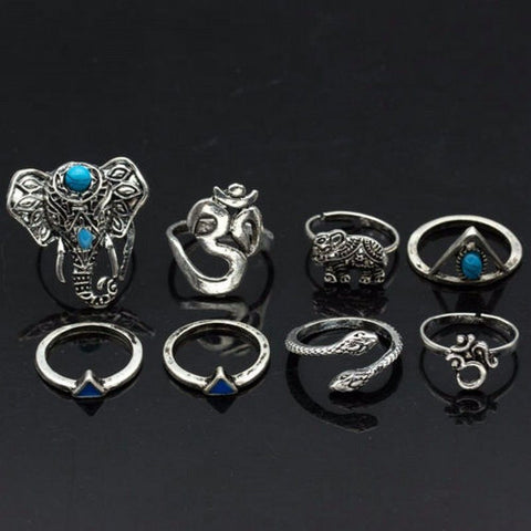 8 Piece Bohemian Elephant Ring Set