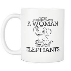 Never Underestimate A Woman Who Loves Elephants Custom Mug