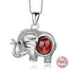 Image of 925 Sterling Silver Red Garnet Stone Elephant Necklace