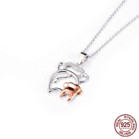 925 Sterling Silver Mother and Baby Elephant Pendant Necklace